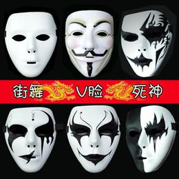 Wholesale Ghost Painting - Wholesale- Halloween Mask Street Dance V for Vendetta Grim Reaper Hip-hop Decorative hand-painted Horror Ghost Dancer MasksParty Supplies