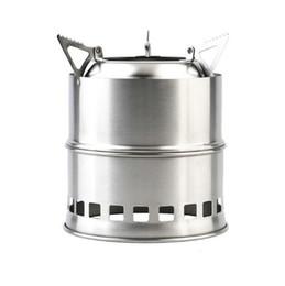 barbacoa de gas inoxidable Rebajas Estufa de acero inoxidable portátil para acampar Ligero BBQ Picnic Stove envío gratis