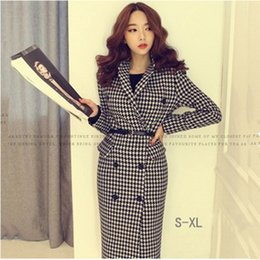 Wholesale Women S Trench Coat Pattern - 2016 New Design Women Wool Coat Turn-down Collar Plover Case Double-breasted Trench Coat Office Fashion Lady Blends dress N02