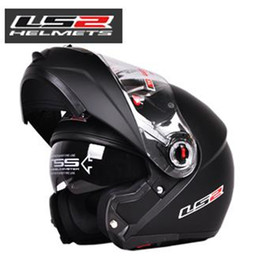 Wholesale China Flip Up Helmets - the china LS2 ff370 capacetes casco Flip up Motorcycle helmets Full Face Helmet double dual lens with visor DOT ECE helmet