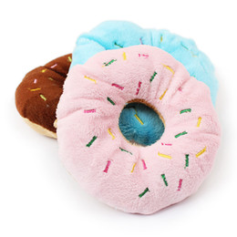 Wholesale Donut Dog Toy - Coffe&Pink Lovely Pet Dog Puppy Cat Tugging Chewing Squeaky Squeaker Sound Toy Chew Cotton Donut Play Toys