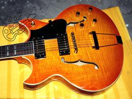 Benutzerdefinierte hohlkörper gitarren online-Freier Verschiffen-Gewohnheits-Geschäftjazz-Hohlkörper elektrische Gitarren-Zitronen-Impuls-Großverkauf