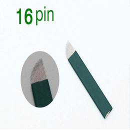 Wholesale Tattoo Needle Packs - 50PCS Pack 16 Pin 0.18 mm Diameter Permanent Makeup Needle Eyebrow Microblading Needles for 3D Embroidery Manual Tattoo Pen Machine
