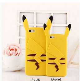 Wholesale Iphone Cases Pikachu - 2016 3D Cute Cartoon Poke Pikachu Soft Silicone Rubber Case back Cover Skin for iphone 5S SE 6 6S plus