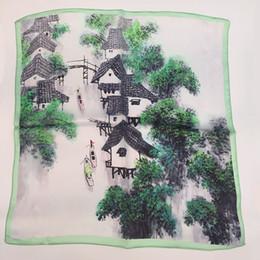 Wholesale Stripe Scarf Silk - Fashion Silk high-Quality Colorful Luxury Silk Bohemian Print Square Scarves For Women silk scarf Summer Designer Apparel Accessories