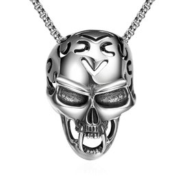 Wholesale Long Tooth Necklace - Men Boys Skeleton Skull Pendant Necklace Vintage Steampunk Rock Style 316L Stainless Steel Jewelry Plating Silver Long Teeth Devil Necklace