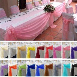 Wholesale Wholesale Wedding Swags - Wedding Curtains 10yard*48cm Table Swags Sheer Organza Fabric DIY Wedding Party Bow Decorations Adorable Table Swags Sheer Organza Fabric