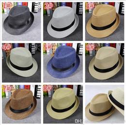 Wholesale Brown Straw Hats - fashion Men Women Straw Hats Soft Fedora Panama Hats Outdoor Stingy Brim Caps 8 Colors Choose D757
