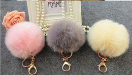 2019 bonito chaveiros 10 cores Adorável bola de pêlo saco de acessórios Chaves Enforcamentos Acessórios Fuzzy Bola keychain chave Do Carro saco de bola de coelho enfeites de cabelo grande raposa de Pelúcia