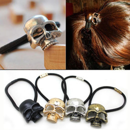 Wholesale Ponytail Hair Rope - 2016 New Fashion 4 Colors Metal Skull Elastic Hair Band Rope Scrunchie Ponytail Holder 4 Pcs[GE05209*4]