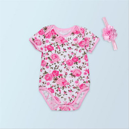 Wholesale Rompers For Sale - Floral Girls Rompers with O-Neck Style Kids Short Sleeve Cotton Romper for the Whole Year Hot Sale