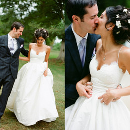 Wholesale Cheap Lace Gowns China - Cheap High Quality Country Wedding Dresses from China 2016 Lace Top Sweetheart Neck Spaghetti Straps Garden Bridal Gowns Custom Made