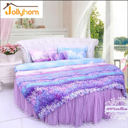 Wholesale King Pink Bedspread - Wholesale- 100%Cotton Round Bed Duvet Cover Sets 4pcs Bedding Sets Bedspread Style  Bed Sheet With Skirt Style 65 Colors (Accept Custom)