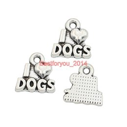 Wholesale Wholesale Tibetan Silver Dog Charms - Tibetan Silver Plated I Love Dogs Charm Pendant Jewelry Making Bracelet Findings Components Accessories Craft DIY Handmade 14x15mm