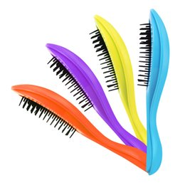 Wholesale Massage Specials - 2018 Top Fashion Special Offer Massage Brush Pvc Hairbrush Handle Multi Color Women Hair Massage Comb Anti-static Plastic Care Brushes 2705