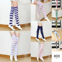 Wholesale Wholesale Socks Adults - Striped Knee High Socks for Girls Adult Japanese Style Zebra Thigh High Socks Sweet Spring Summer Stockings 21 Colors Christmas Halloween