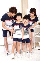 Wholesale Mother Son Clothes - fashion Anchors print stripe cotton t shirt summer matching family clothing for mother daughter & father son family look outfits