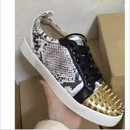 Wholesale Skin Flat Shoes - 2016 Fashion New Brand Snake Skin Red Bottom Sneakers Men Women Spike Rivets Studded Low Top Casual Shoes Men Flat Shoes