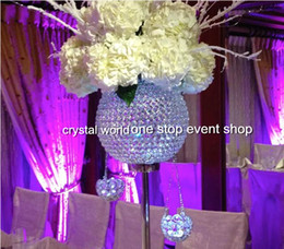 Wholesale Table Flower Vases - Decorative sliver crystal ball flower vase wedding table centerpieces