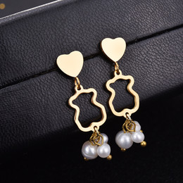 Wholesale Charming Black Onyx - New Design Unique Fashion Panda style stainless steel lady women silver pearl bead Heart charms earrings jewelry party gift El oso pendiente