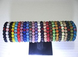 Wholesale Shamballa Bead Clay - Shamballa Crystal 10mm*20 Beads Bracelets Disco Ball shiny Stretch Bracelets Jewelry Armband Cheap China wrap charm bracelets 10pcs lot