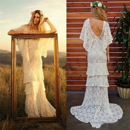 Wholesale Beach Bats - Full Lace Tiered Country Bohemia Beach Wedding Dresses Bateau Neckline Bat Sleeves Bridal Dress Floor Length Custom Made Wedding Gowns 2016