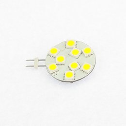 Wholesale 24v Led Light Bulbs G4 - LED G4 Spot Bulb Puck Light 9leds SMD 5050 3W AC DC10-30V Dimmable White 200LM Ships Autobike