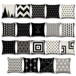 Wholesale 18x18 Pillow Cases - Pillow Case Black and White Pattern Pillowcase Cotton Linen Printed 18x18 Inches Geometry Euro Pillow Covers c186