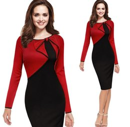 Wholesale Ladies Working Dresses - 2016 Fashion Women Work Dress Office Dress Cheap Tunic Pencil Bodycon Dress Women Dresses Fashion Casual Work Female Ladies bandage Dress