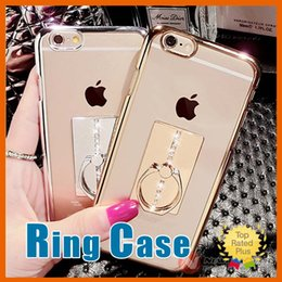 Wholesale Electroplated Battery - Luxury Electroplating Ring Buckle Stand Clear Phone Cases Finger Cover For iPhone 5 5S 6 6S 7 Plus 4.7 5.5 inch