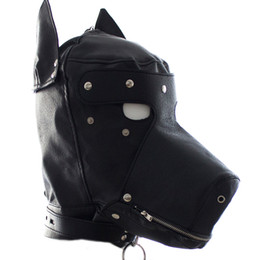 Wholesale leather sex dog mask - Leather Dog Puppy sex toy Hood Full Mask For Party bondage HD002