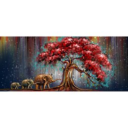 Wholesale Red Wall Art - 120*60cm Oil Painting High Quality Elephant Pray Artistic Painting Western Red Tree Leaves Abstraction Paintings Home Wall Art Decoration