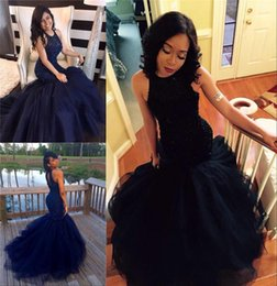 Wholesale Dark Blue Tulle Skirt - 2017 New Navy Blue Prom Dresses High Neck Mermaid Style Major Beading Evening Party Dresses Tiered Skirts Arabic Pageant Party Gowns BA0564