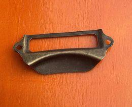 Wholesale Label Frame - Fashion Hot Antique Brass Metal Label Pull Frame Handle File Name Card Holder For Furniture Cabinet Drawer Box Case Bin