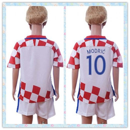 Wholesale Youth Soccer Uniform Jerseys - Fast Uniforms Kit Youth kids 2016 European cup Croat #7 I.RAKITIC #10 MODRIC #8 KOVACIC Soccer Jersey Red White Jerseys Shirt