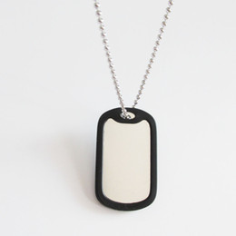 Wholesale Army Pendants - 100sets lot Aluminum Military Dog Tag With Rubber Silencer and 60cm Bead Chain Army Men Pendants