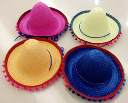 Wholesale Yellow Kids Summer Hat - Mexican Sombrero For Children Kids Show Straw Hats Dance Props Pompon Party Hat 20Pcs lot Free Shipping