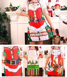 Wholesale Sexy Kitchen - Christmas Funny Cooking Kitchen Apron Sexy Dinner Party Baking Apron For Woman Man BBQ Party Cartoon Apron wen4521
