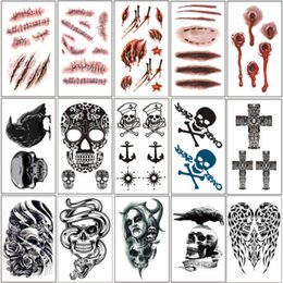 Wholesale Temporary Bat Tattoos - Terror Scar Bullet Wounds Blood Skull Bat Spider Cross Halloween Temporary Tattoos Stickers Body Arts