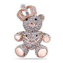 Wholesale Teddy Bears Diamond - High Quality Decorative Garment Accessories Wedding Bridal Full Rhinestone Animal Teddy Bear Bowtie Brooch Pin
