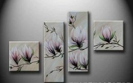 Wholesale Country Kitchen Sets - Four flower set Household adornment picture Hotel with painting Hand-painted oil painting Pink magnolias free shipping