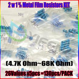 Wholesale 2w Resistor Kit - Wholesale- New! 2W Metal Film Resistors 4.7K-68K,26valuesX5pcs=130pcs, 2W Metal Film Resistors Assorted Kit, Sample bag
