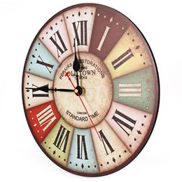 Wholesale London Clocks - Wholesale- 2016 Hot Selling Vintage Wall Clock Colourful London Style Wood Clocks Relogios Home Decoration Wall Watch 1596868