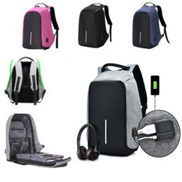 Wholesale Nylon Notebook - 7 Colors USB Charging Port Anti-theft Bags Unisex School Bags Notebook Laptop Backpack Anti-theft Laptop Shoulder Bags CCA7249 10pcs