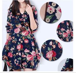 Wholesale Dress Clothes For Gravida - Hot Sale Dress Maternity Plus Size Print V-neck LooseLong-sleeve Vestido Para Gravida 2017 Clothing For Pregnant Women Pregnancy Clothes