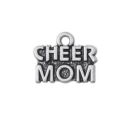 Wholesale Wholesale Fitness Charms - Cheer Mom Series Sports Fitness Charm Zinc Alloy Antique Silver Plated For Jewelry Making (H110601)