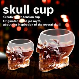 Wholesale Crystal Skulls For Sale - copos hot sale freeshipping Skull cup Crystal vodka wine glasses of red wine Imprison pirates skull cup bottle for water