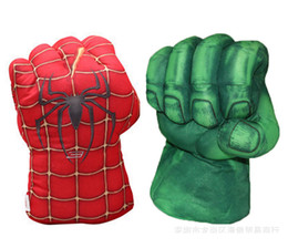 Wholesale Smash Toys - Retail 2016 New Avengers Cosplay Incredible Green Hulk Spiderman Smash Hands Plush Gloves Boxing Gloves Children Gifts Free Shipping