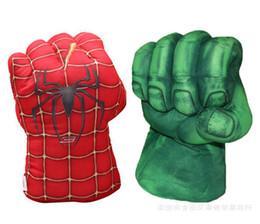Wholesale Hulk Plush - Retail 2016 New Avengers Cosplay Incredible Green Hulk Spiderman Smash Hands Plush Gloves Boxing Gloves Children Gifts Free Shipping