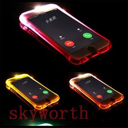 Wholesale Note Light Up Case - TPU+PC LED Flash Light Up Case Remind Incoming Call Cover for iPhone 7 SE 6S Plus Samsung S7 S6 Edge Note 5 Clear